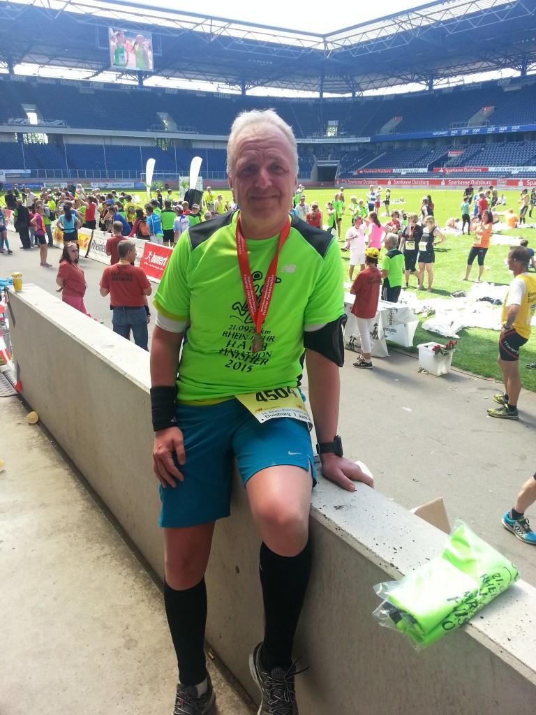 Halbmarathon – Rhein-Ruhr-Marathon Duisburg, 07. Juni 2015: MSV Stadion, nach dem Lauf