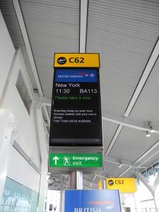 Abflug von London Heathrow nach JFK New York