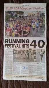 """Bermuda Zeitung """"The Royal Gazette"""" - Beilage zum Marathon Wochenende, Titelblatt"""