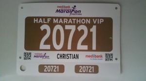 Meine Startnummer für den Halbmarathon am Sonntag