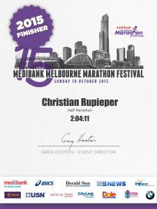 Melbourne Halbmarathon - die Urkunde