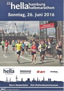 Halbmarathon – 22. hella hamburg halbmarathon, 25. Juni 2016: Event Plakat