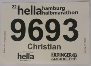 Halbmarathon – 22. hella hamburg halbmarathon, 25. Juni 2016: Meine Startnummer