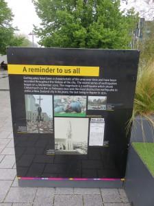 Christchurch - Gedenktafel zum Erdbeden
