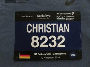 Queenstown Halbmarathon - Meine ungenutzte Startnummer
