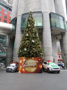 """Auckland - Weihnachtsbaum am Sky Tower mit ordentlich """"Lametta dran - geht doch!"""" :-)  :-)  :-) ..."""